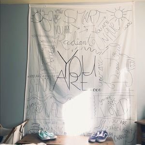 "Other - White ""You Are"" tapestry"